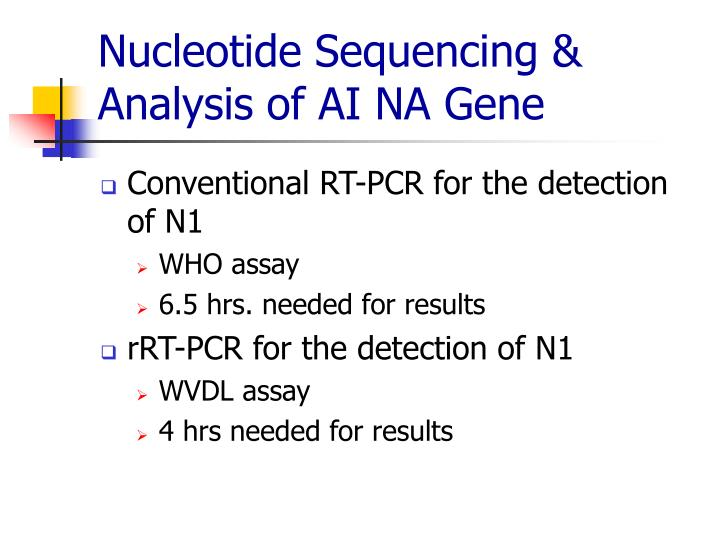 Nucleotide Sequencing & Analysis of AI NA Gene