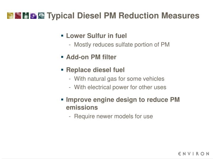 Typical Diesel PM Reduction Measures