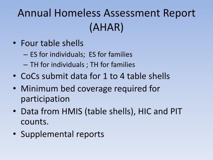 Annual Homeless Assessment Report (AHAR)