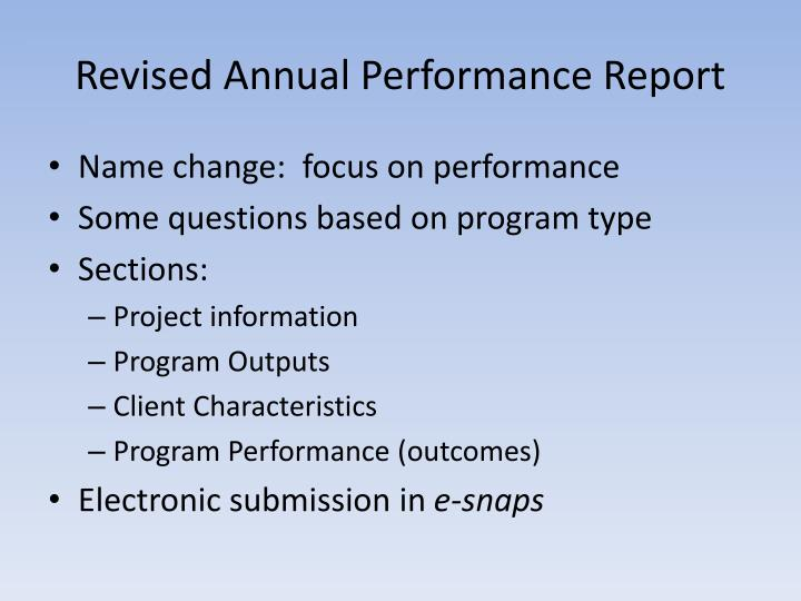 Revised Annual Performance Report