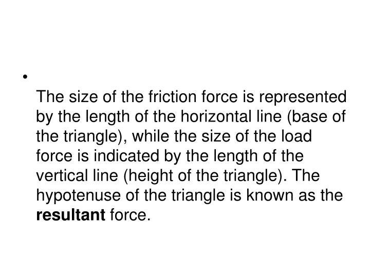 The size of the friction force is represented by the length of the horizontal line (base of the triangle), while the size of the load force is indicated by the length of the vertical line (height of the triangle). The hypotenuse of the triangle is known as the