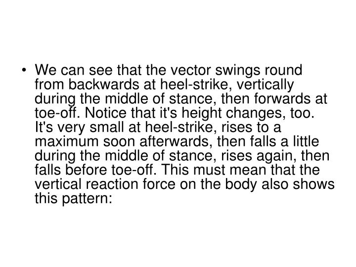 We can see that the vector swings round from backwards at heel-strike, vertically during the middle of stance, then forwards at toe-off. Notice that it's height changes, too. It's very small at heel-strike, rises to a maximum soon afterwards, then falls a little during the middle of stance, rises again, then falls before toe-off. This must mean that the vertical reaction force on the body also shows this pattern: