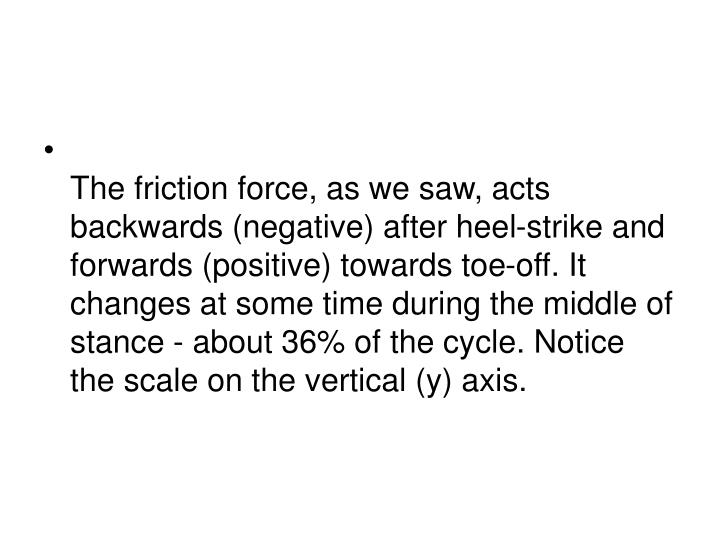 The friction force, as we saw, acts backwards (negative) after heel-strike and forwards (positive) towards toe-off. It changes at some time during the middle of stance - about 36% of the cycle. Notice the scale on the vertical (y) axis.
