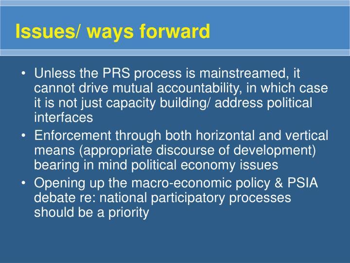 Issues/ ways forward