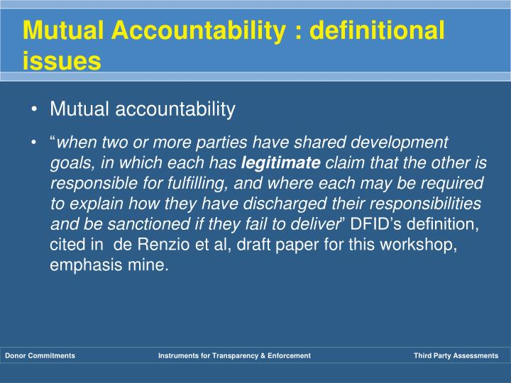 Mutual Accountability : definitional issues