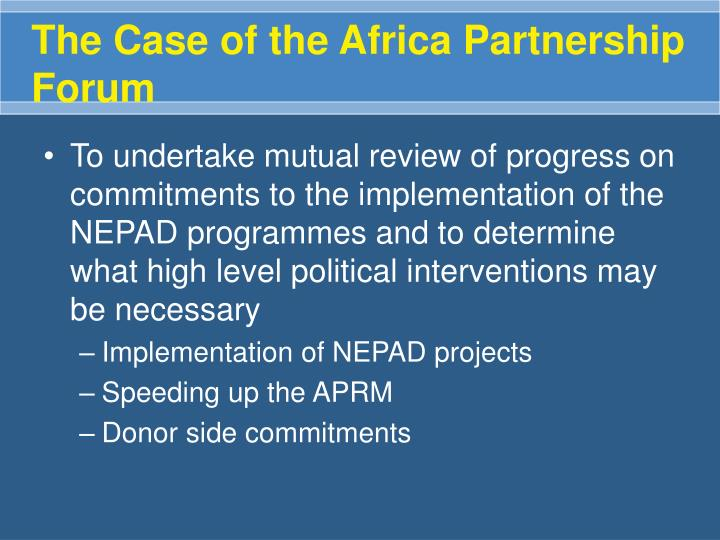 The Case of the Africa Partnership Forum