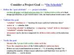 consider a project goal on schedule