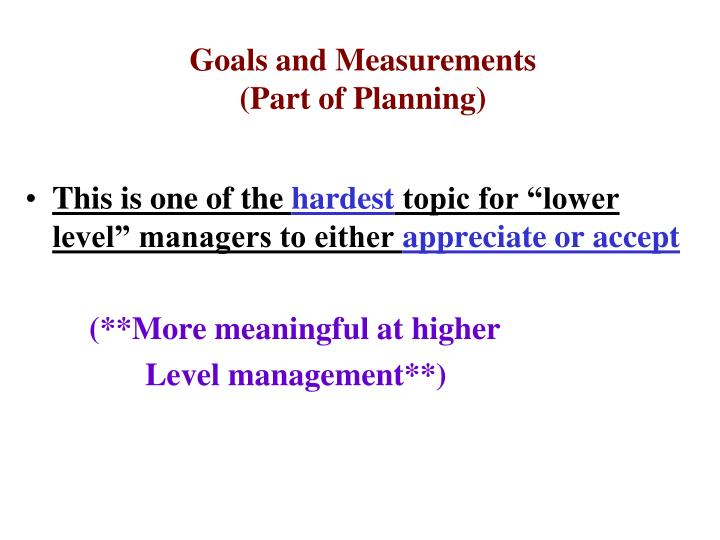 goals and measurements part of planning n.