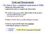 goals and measurements