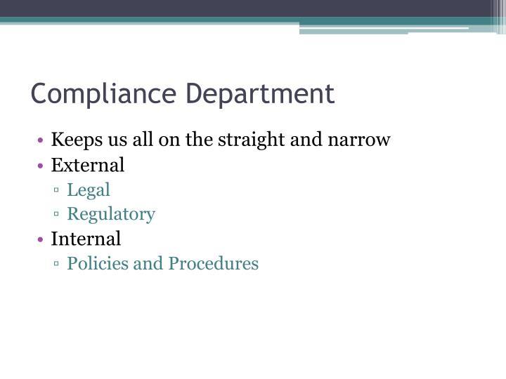 Compliance Department