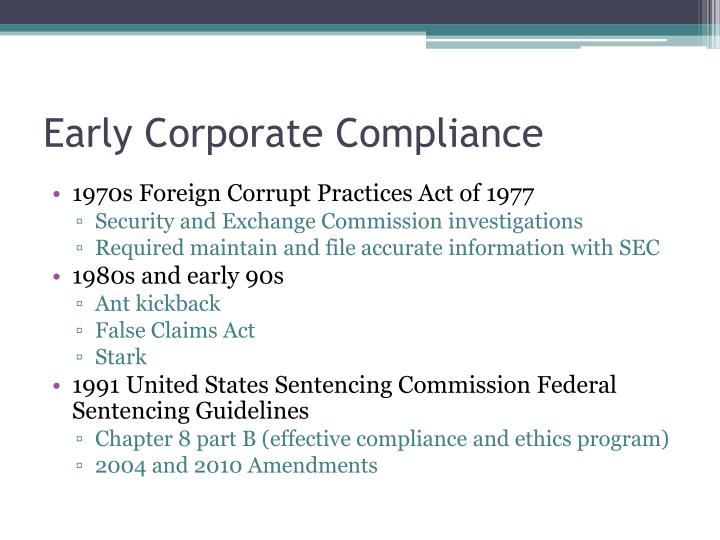 Early Corporate Compliance