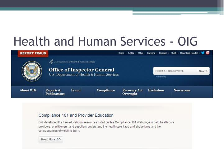 Health and Human Services - OIG