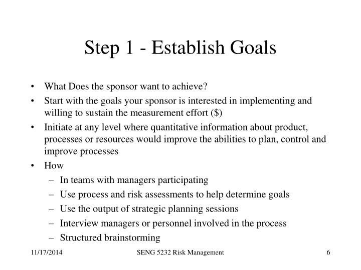 Step 1 - Establish Goals