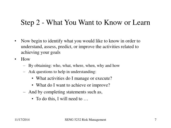 Step 2 - What You Want to Know or Learn