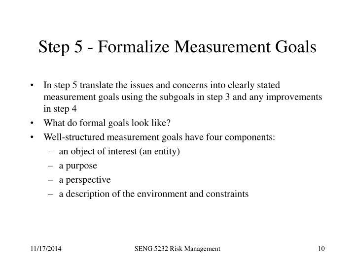 Step 5 - Formalize Measurement Goals