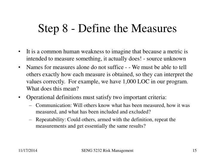 Step 8 - Define the Measures