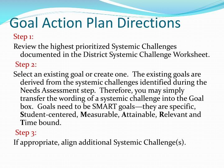Goal Action Plan Directions