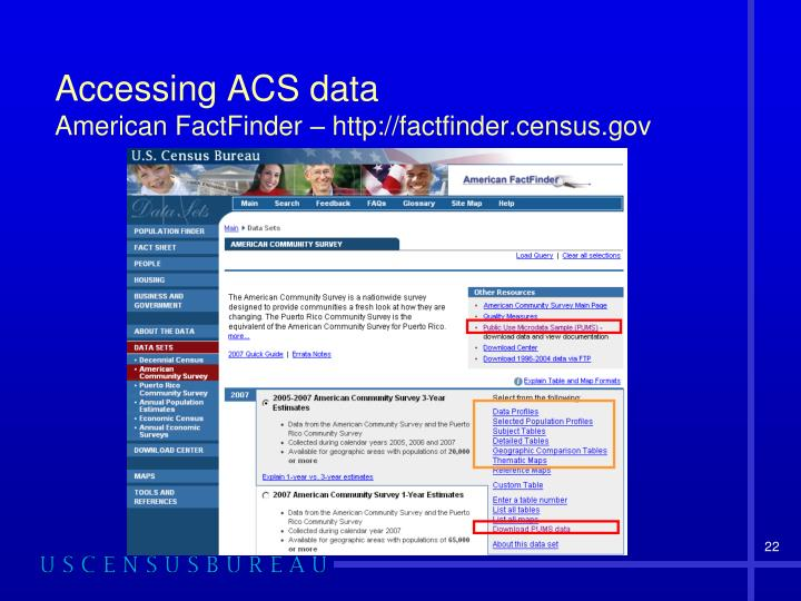 Accessing ACS data