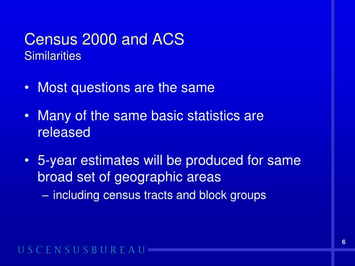 Census 2000 and ACS