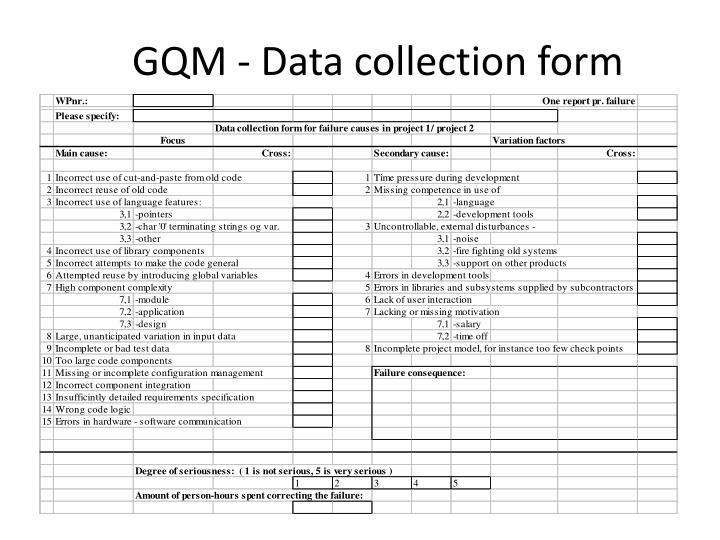 GQM - Data collection form