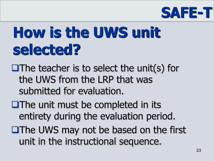 How is the UWS unit selected?