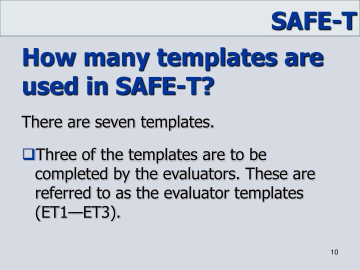 How many templates are used in SAFE-T?