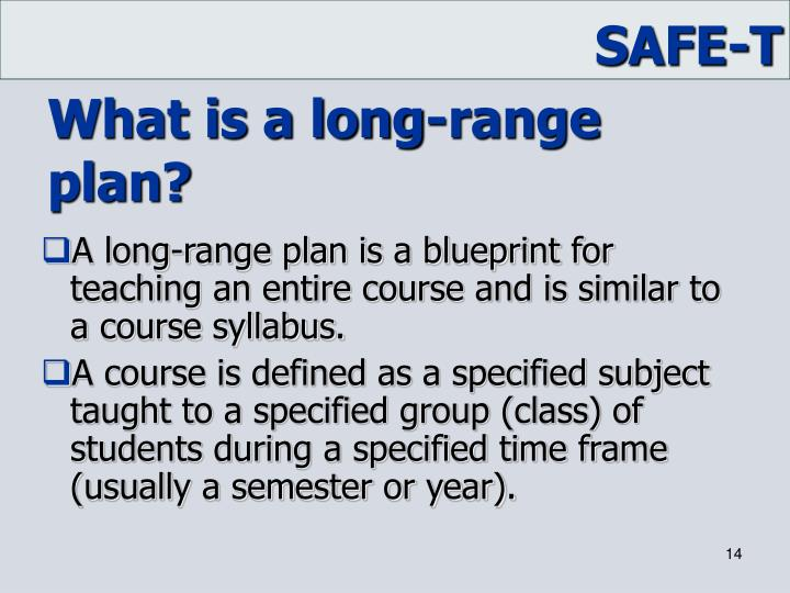 What is a long-range plan?
