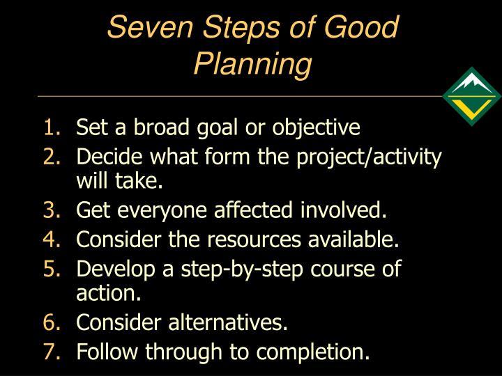 Seven Steps of Good Planning