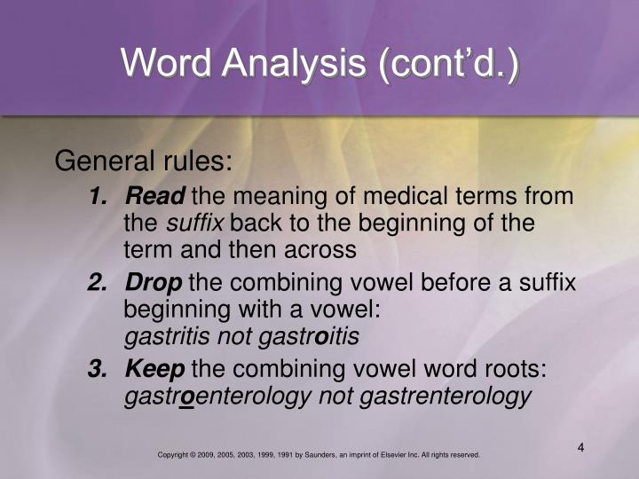 Word Analysis (cont'd.)
