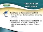 transfer options