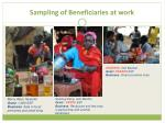 sampling of beneficiaries at work