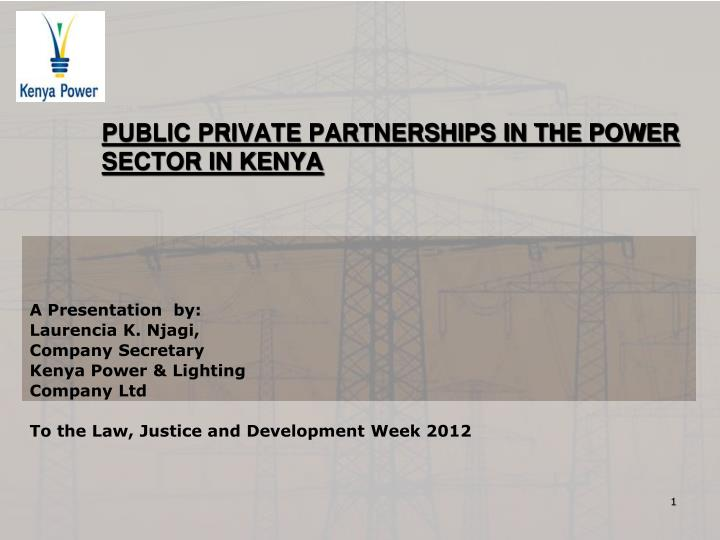 public private partnerships in the power sector in kenya n.
