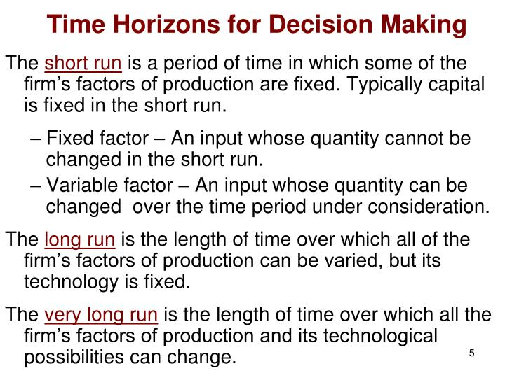 Time Horizons for Decision Making