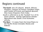 regions continued