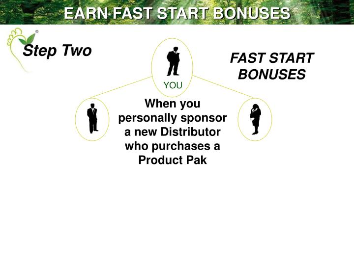 EARN FAST START BONUSES