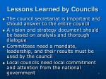 lessons learned by councils