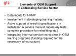 elements of oem support in addressing service sector