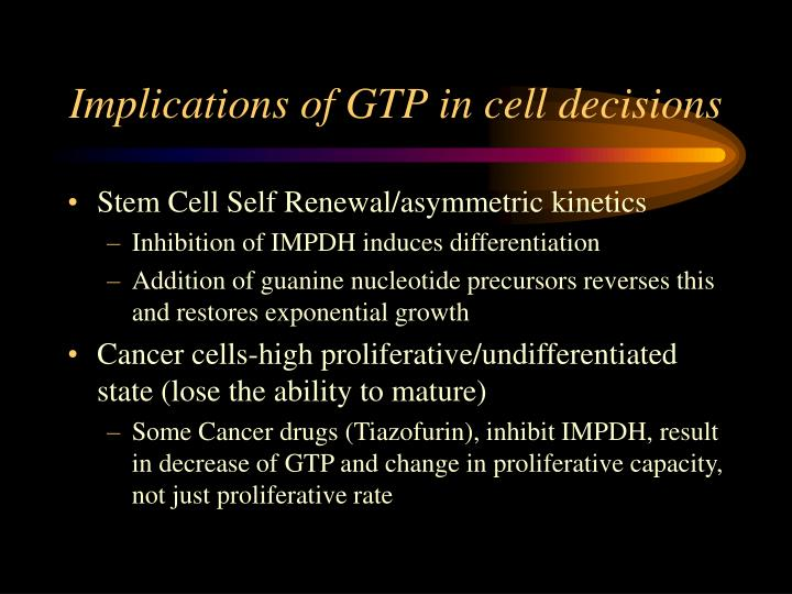 Implications of gtp in cell decisions