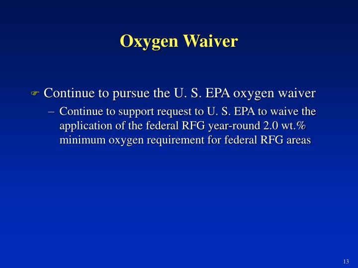 Oxygen Waiver