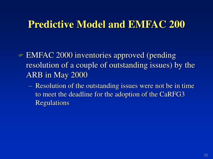 Predictive Model and EMFAC 200