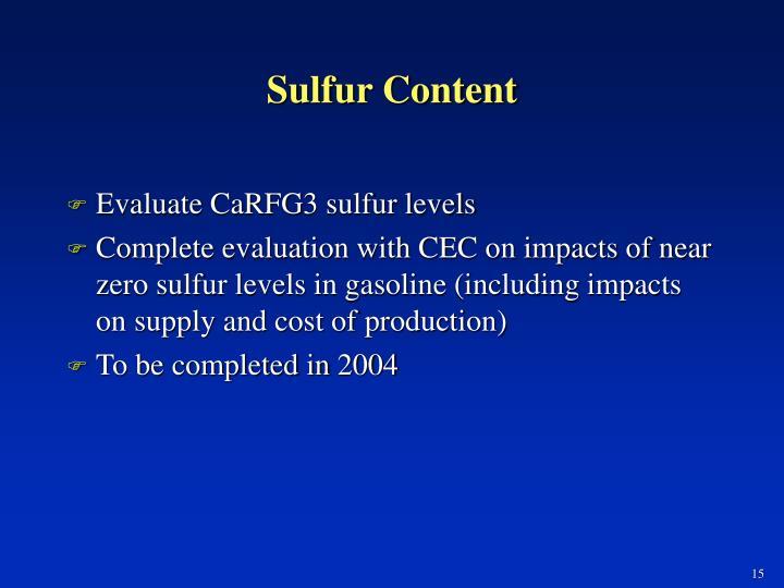 Sulfur Content