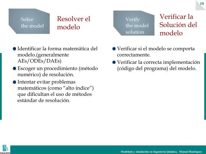 Identificar la forma matemática del modelo.(generalmente AEs/ODEs/DAEs)
