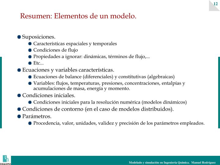 Resumen: Elementos de un modelo.