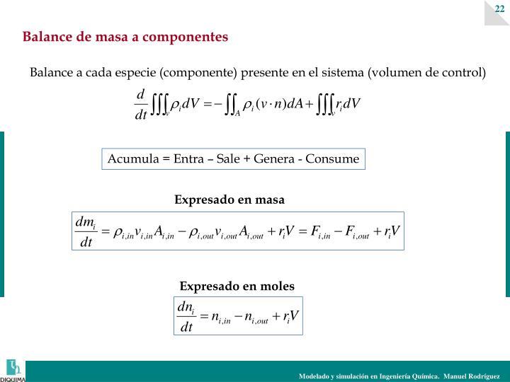 Balance de masa a componentes