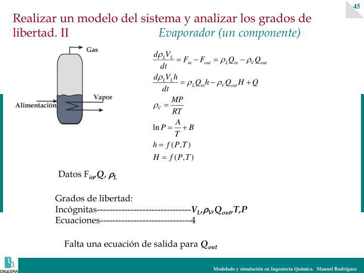 Realizar un modelo del sistema y analizar los grados de libertad. II
