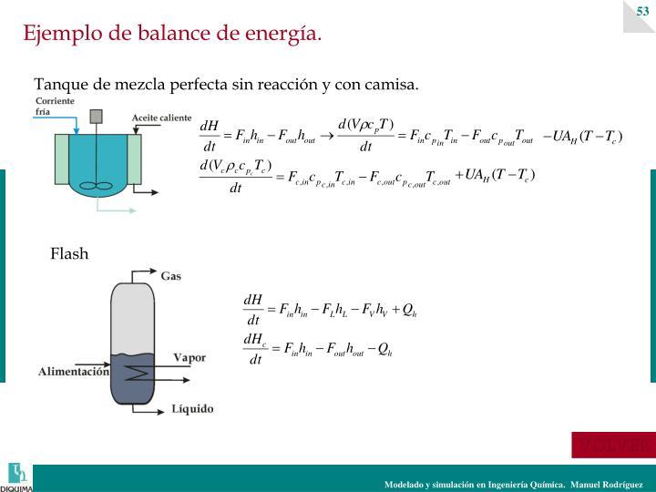 Ejemplo de balance de energía.