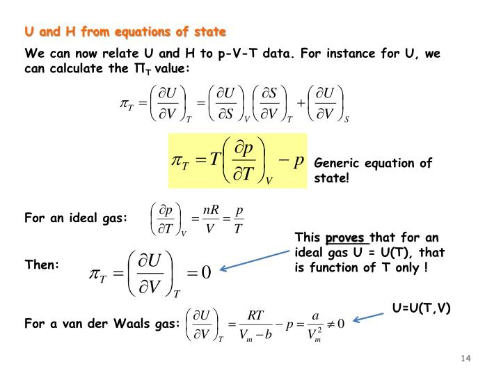 U and H from equations of state