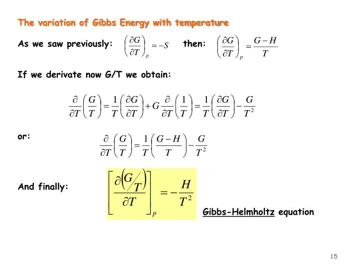 The variation of Gibbs Energy with temperature