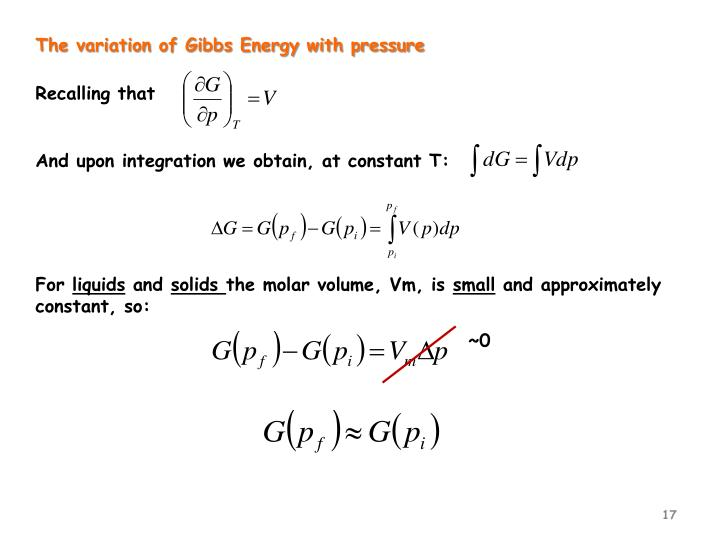 The variation of Gibbs Energy with pressure