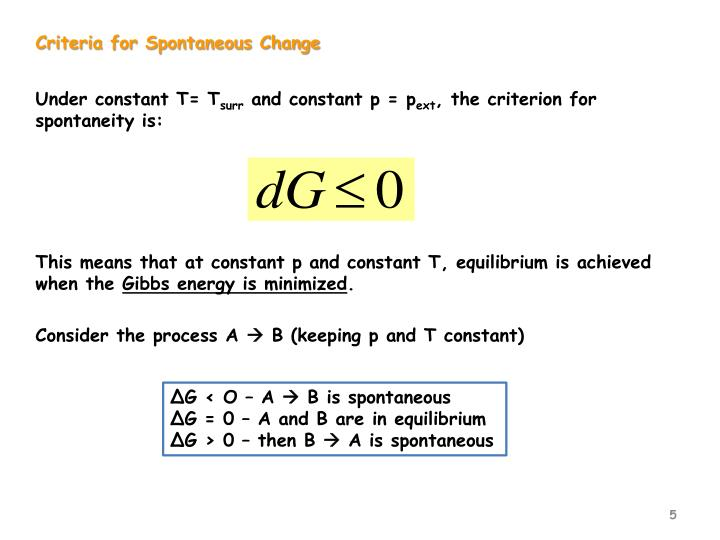 Criteria for Spontaneous Change